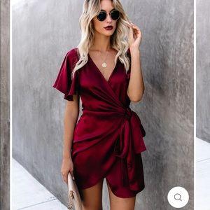Gorgeous wine colored wrap dress